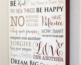 """12x18"""" Family Rules Canvas Wrap - Gallery Wrap - Sign - Red"""