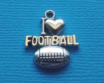 10 I love Football Charms Silver I heart Football Charm - CS2416