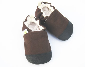 Organic Vegan Heavy Canvas Chocolate / non-slip soft sole baby shoes / made to order / Babies Toddler Preschool