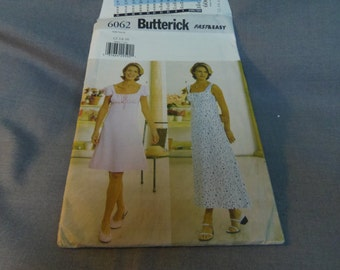 Womens Lined Dress with Empire Waist, Size 12, 14, 16 Uncut Pattern, Butterick 6062