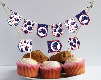 Australia Day printable Download cupcake flags mini Bunting Garland Australia party Australia printable Australia banner Australian flags