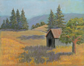 Old Barn Original Landscape Pastel Painting
