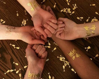 Bride or Die Flash Tatts / Metallic Gold Temporary Tattoos / Bachelorette Party Favors / Bride Gift / Gold Flash Tatts / Fun Bach Favor