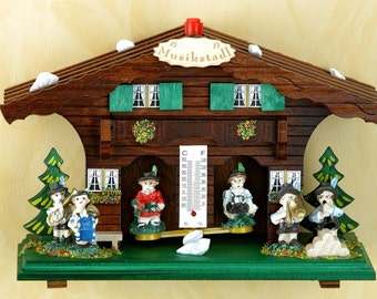 Germany Black Forest-weather houses- Original Schwarzwald- Wetterhaus 13 cm - Musiker/musicians- Holzfiguren