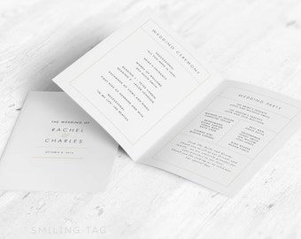 Folded Wedding Program in Letter or A4 Printable- Modern Minimalist Wedding Program- Ready to Print PDF- Letter or A4 Size (Item code: P307)