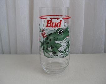 Vintage 1990's Budweiser Beer Frogs Advertising Glass Tumbler
