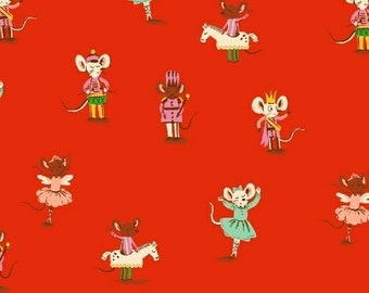 FABRIC SUGAR PLUM Fairy Christmas Mice Dancing Ballet on red   We combine shipping