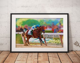 American Pharoah print, Triple Crown winner, horse racing art, Belmont Stakes, Thoroughbred racehorse, Breeders Cup Classic, horse painting