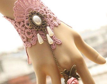 Goth Vintage Victorian PInk Rose Pink Lace & Pearl Bracelet w/ Ring