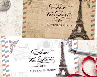 Vintage Parisian Wedding Save the Date Postcard, Printable, Evite or Printed (US Only) Postcards