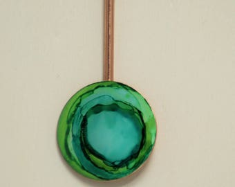 Green and Teal Pendulum Hand Painted Necklace
