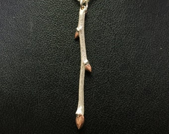 Twig Branch Necklace - Silver Branch With Rose-Gold Plated Buds - Nature Jewelry