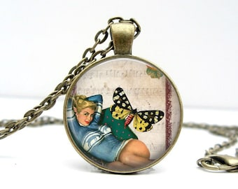 Butterfly Pinup Necklace : Glass Dome Art Picture Pendant Photo Pendant Handcrafted Jewelry  (1017)