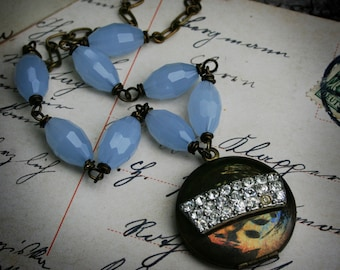 Rhinestone Locket Necklace with Opal Blue Beads