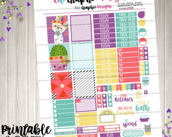 Llama- Cute- Animal- Catcus - Printable - Erin Condren - Recollections - Planner - Weekly Kit