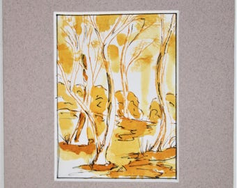 Original ACEO ink artwork. Mounted on quality art matt ready to fit a 5 x 7 frame