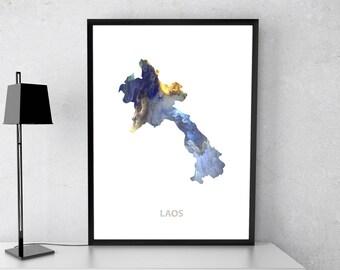 Laos poster, Laos art, Laos map, Laos print, Gift print, Poster