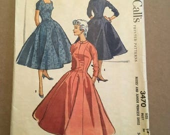 Vintage 1950's McCall's Printed Pattern 3470 Misses and Junior Princess Dress Size 12 Bust 30