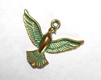 5 Brass with Patina Bird Charm/Pendants