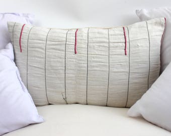 VINTAGE Hmong Pillow Hand Woven HEMP Organic HMONG Ethnic A Piece Of Tribal Textile Striped Black & White Cream