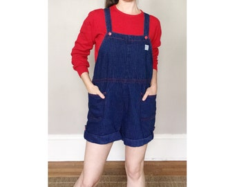 Levi's Denim Overall Shorts in Dark Wash with Red Check