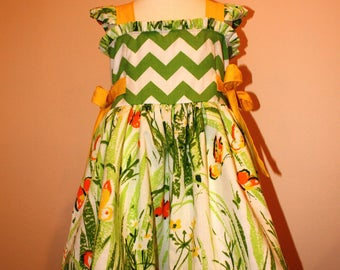 CLEARANCE SIZE 4 Ready to SHIP Girls Vintage Butterfly and Modern Chevron Ruffle Dress