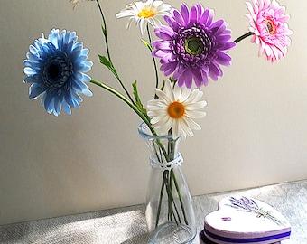 Summer bouquet. Gerbera daisy. Clay flowers. Home flower arrangement.