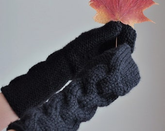 Freezebaby Mittens - hand-knit full hand gloves mittens cable textured chunky extra long knitted mitts in black or CHOOSE YOUR COLOR