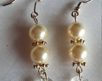 SALE: Swarovski Pearl and Crystal Earrings