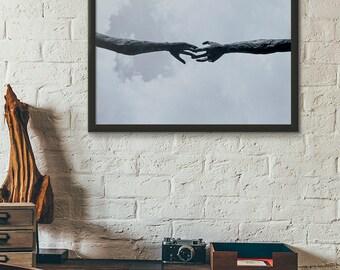 Wall Art Print Statue Hands Reaching 11x14