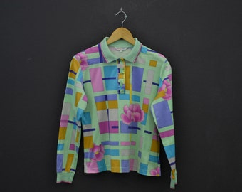 Leonard Shirt Womens Size S/M Leonard Vintage Polo Shirt Geometric Floral Print Shirt Size 40 Made in Japan