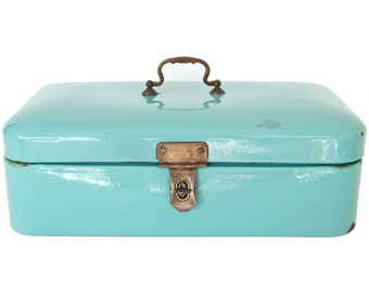 Vintage Teal Bread Box
