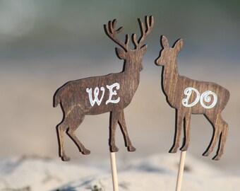 Deer Cake Topper We Do - Mr & Mrs Deer- Beach wedding - Bride and Groom - Rustic Country Chic Wedding