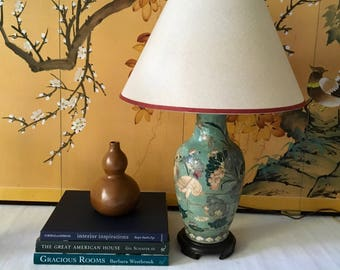 Vintage Celadon Teal Green Chinoiserie Style Heyward House Table Lamp
