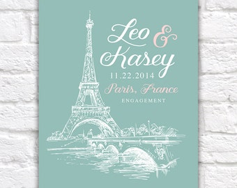 Paris Engagement Gift, Eiffel Tower, Paris, France -  Wedding Anniversary, Honeymoon, French, Engagement Present, Skyline, Wife Surprise