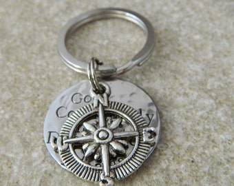 Go Confidently in the Direction of your Dreams with Compass Handstamped Keychain