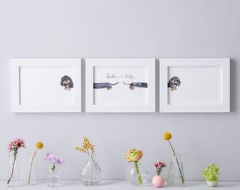 Personalised name Dachshund Art Print - Sausage dog illustration - Miniature Dachshund Illustration - Doxie Artwork