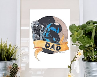 Tattoo style Darth Vader illustration, an original watercolour. Ideal for Fathers Day, Star Wars original trilogy parody with tie fighters!