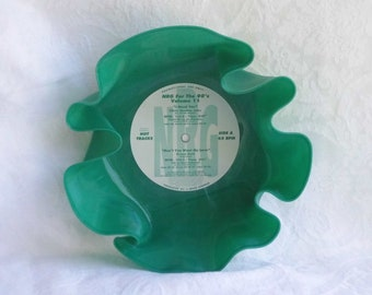 Green/White Marbled Colored Vinyl Record Bowl