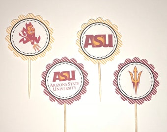 Arizona State University Sun Devils - 12 cupcake toppers