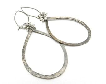 Hoop Earrings, Sterling Silver Earrings, Large Teardrop Hoop Earrings, Hammered Earrings, Silver Hoops, Rustic Jewelry, By Durango Rose