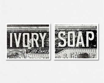 Laundry Room Prints or Canvas Art, Nursery Decor, Rustic Laundry Room, Rustic Nursery, Ivory and Soap, Vintage Nursery Set of 2 Prints.