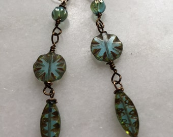 Czech Glass Cool River Spindles Dangle earrings \\Boho Jewelry\\Nature Inspired \\ Blue Green Jewelry