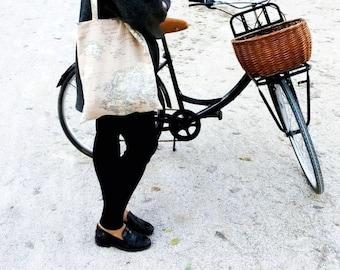 BROWN Atlas Tote Bag//handmade//totebag//Fabric bag//ATLAS Print//Canvas tote bag//gift for woman//tote bag fabric//Map