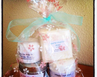 Gift Bags. Birthday gift. Mother's Day gift. Wedding gift. Vegan. Gluten Free. Sugar Scrub. Soy Candles. Soap. Body Cream.
