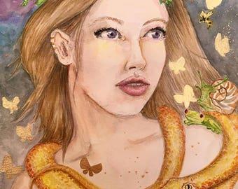 Golden Butterflies Fantasy Art Illustration portrait watercolor 9x12 inches original artwork colorful art illustration