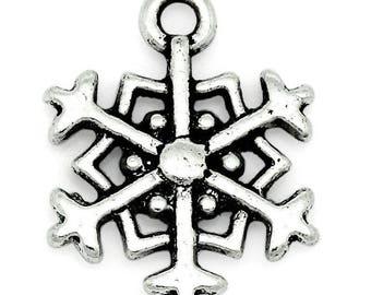 Pendant, charm, snowflake, snow, silver, 18mm x 14mm, réf: BE1B