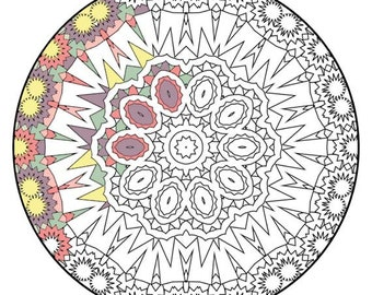 Mandala Coloring Pages - The Flinders - Mandala Coloring Page Printable, Adult Coloring, Digital Coloring, Mandala Art