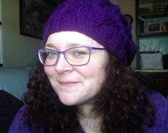 Purple slouchy cable knit beret