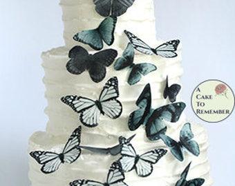 20 matte black edible butterflies for chalkboard wedding cake toppers, wafer paper butterflies . Butterflies for cake and cupcake decorating